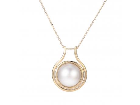 "14KY 18+2"" 12-13MM MABE PEARL PENDANT"