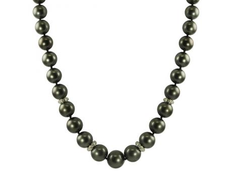 14K White Gold Tahitian Pearl Necklace - 10-12.5mm Uniform Color AA Quality Tahitian cultured pearl Necklace With Diamond Roundels and Fancy ClaspNot only is this necklace incredibly rare and beautiful but also it comes with all of the extras, including four-diamond roundel's and a fancy ball clasp with a total diamond weight of .45ct.These dark colored Tahitian cultured pearls are incredibly desirable and exceedingly difficult to procure.Please submit any questions or special requests in the special comments box and we will do anything we can to accommodate!THIS STRAND COMES WITH AN OFFICIAL IMPERIAL CERTIFICATION.
