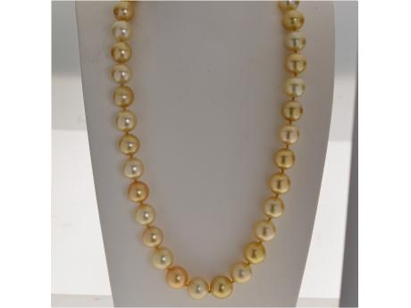 14K Yellow Gold Golden South Sea Pearl Necklace - 14KW 10-15MM NAT COLOR MULTI GOLDEN SS STRAND