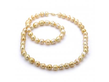 "30"" 14KY 11-12MM GOLDEN SS BAROQUE NECKLACE"
