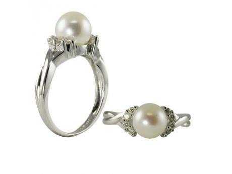 Sterling Silver Freshwater Pearl Ring - 925 8-8.5MM WHITE FWP CZ RING
