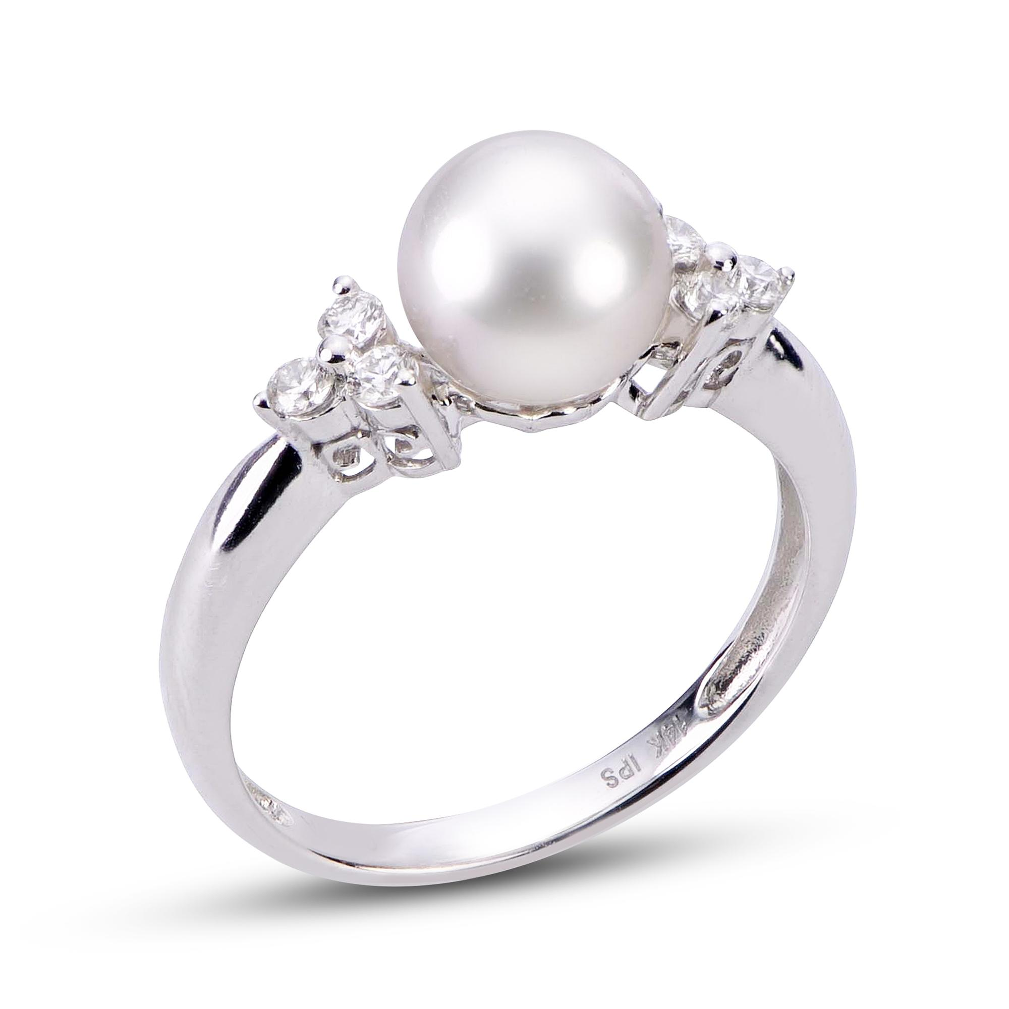 104649604 14K White Gold Akoya Pearl Ring 914274/WH | Rings from McKenzie ...