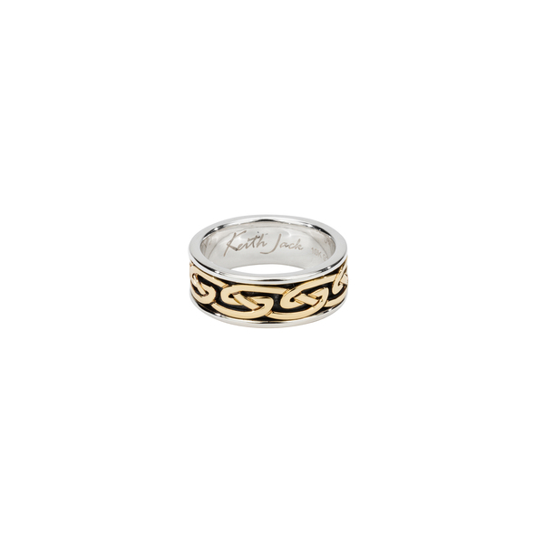 Two tone Silver + Gold Rings Sterling Silver Ring by Keith Jack