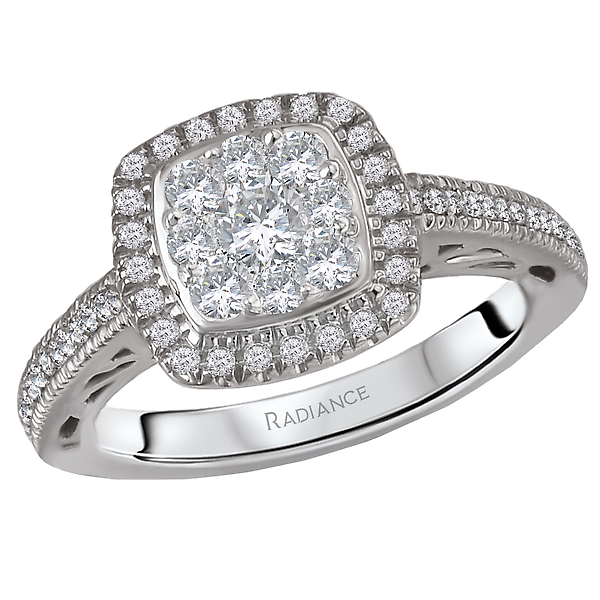 Halo Cluster Diamond Ring by Radiance