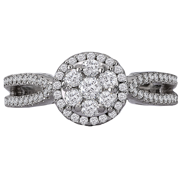 Engagement Rings - Split Shank Diamond Cluster Ring - image #4