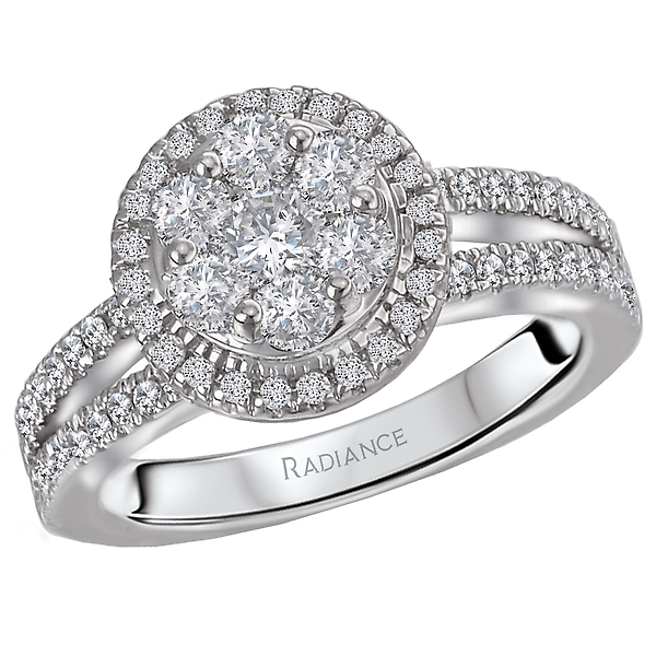 Engagement Rings - Split Shank Diamond Cluster Ring