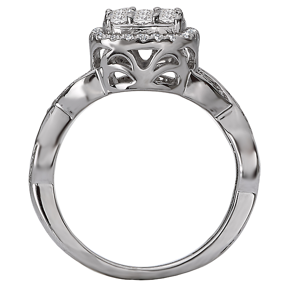 Engagement Rings - Split Shank Diamond Cluster Ring - image #2