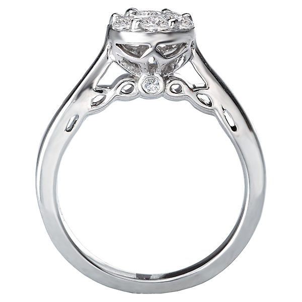 Engagement Rings - Diamond Cluster Bridal Ring - image 2