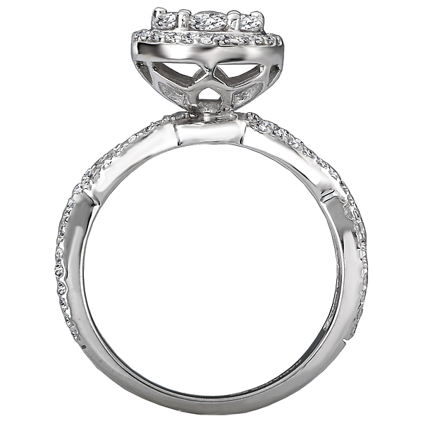 Engagement Rings - Halo Diamond Cluster Ring - image #2
