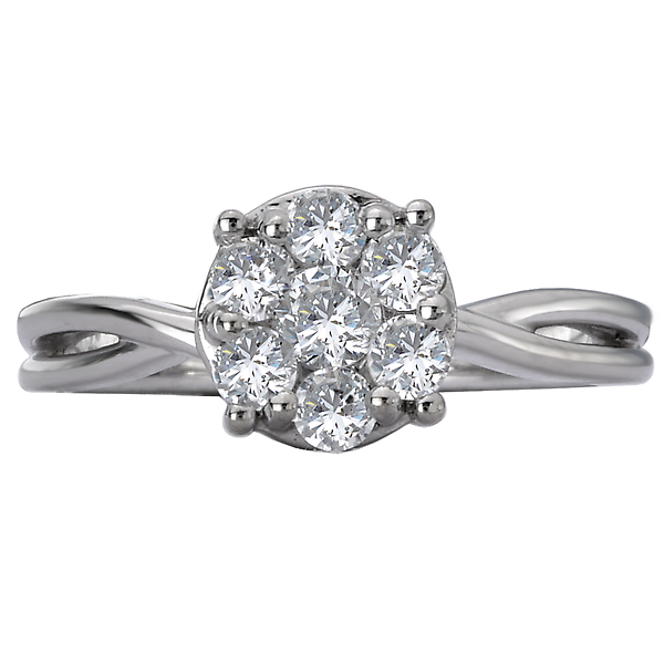 Engagement Rings - Classic Diamond Cluster Ring - image 4