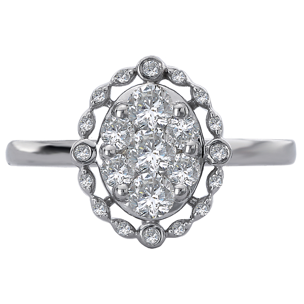 Engagement Rings - Halo Diamond Cluster Ring - image #4