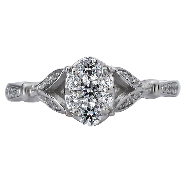 Engagement Rings - Classic Diamond Cluster Ring - image #4
