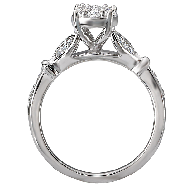 Engagement Rings - Classic Diamond Cluster Ring - image #2