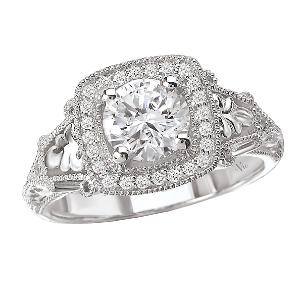 Halo Semi-Mount Diamond Ring - A square halo diamond ring in 14kt white and rose gold with milgrain detail (D 1/7 carat total weight) This item is a SEMI-MOUNT and it comes with NO CENTER STONE as shown but it will accommodate a 6.5mm round center stone.