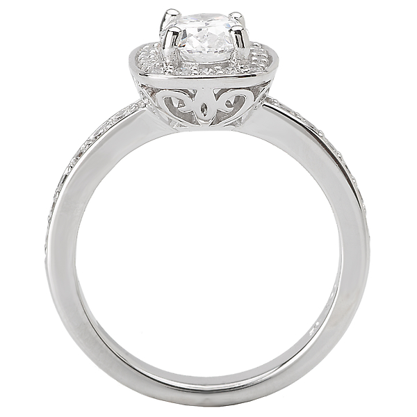 Rings - Halo Semi-Mount Diamond Ring - image 2