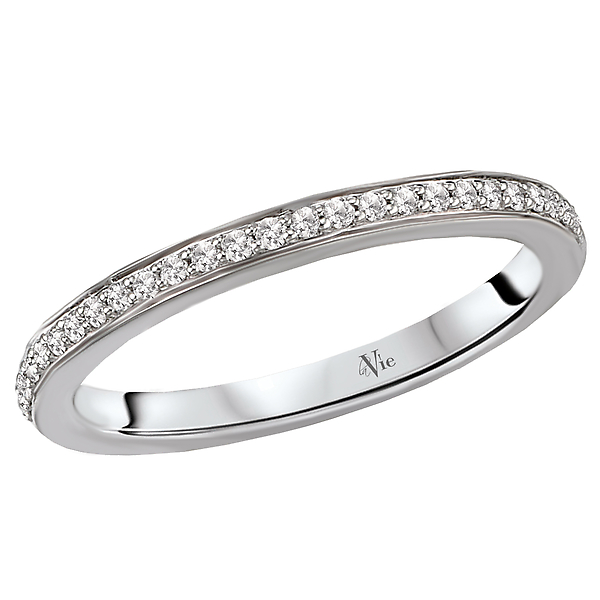 Matching Wedding Band - This is a matching wedding band created with round faceted diamonds set in high polished 14kt white gold. (D1/6 carat total weight)