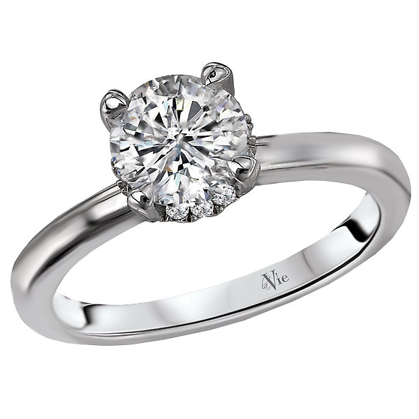 Peg Head Semi-Mount Diamond Ring - This classic bridal ring features a peg head setting surrounded by beautiful sparkling diamonds. (D 1/10 carat total weight) This peg head SEMI-MOUNT ring comes with NO CENTER STONE as shown but it will accommodate a 6.5mm round center .