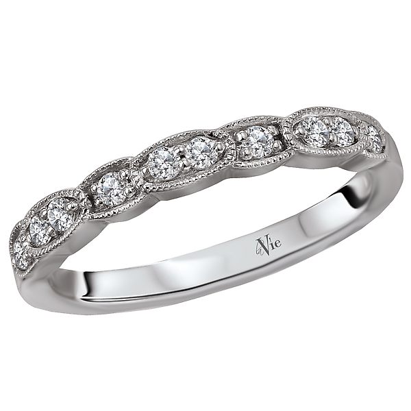 Matching Wedding Band - This is a matching wedding band created with round faceted diamonds set in high polished 14kt white gold. (D 1/6 carat total weight)