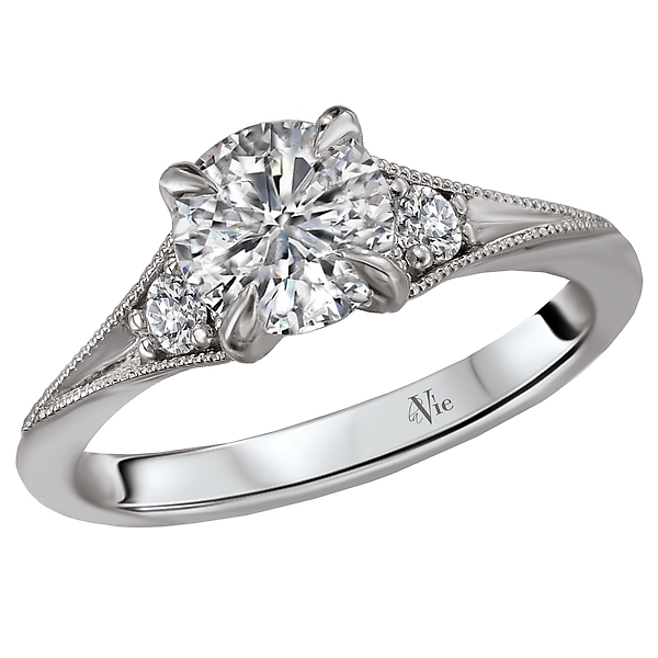 Classic Semi-Mount Diamond Ring - This engagement ring showcases sparkling diamonds set in high polished 14k white gold with accents of milgrain detail. (D 1/10 carat total weight) This ring is a semi-mount and comes with no center stone but will accommodate a round center stone a 6.5mm round diamond center.