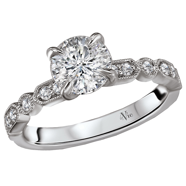 Classic Semi-Mount Diamond Ring - This engagement ring showcases sparkling round diamonds set in high polished 14kt white gold trimmed in milgrain. (D 1/5 carat total weight) This ring is a SEMI-MOUNT and it comes with NO CENTER STONE as shown but it will accommodate a 6.5mm round center stone.