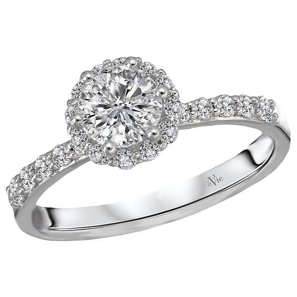 Halo Semi-Mount Diamond Ring - This gorgeous ring is aligned with graduated round brilliant cut diamonds surrounding the round halo that is crafted in high polished 14k white gold. (D 1/3 carat total weight) This SEMI-MOUNT ring comes with NO CENTER STONE but it will accommodate a 5.4-5.6mm round center.