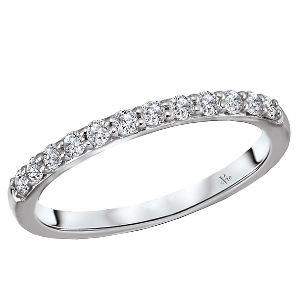 Matching Wedding Band - This is a matching wedding band with round brilliant cut diamonds set in high polished 14kt white gold. (D 1/4 carat total weight)