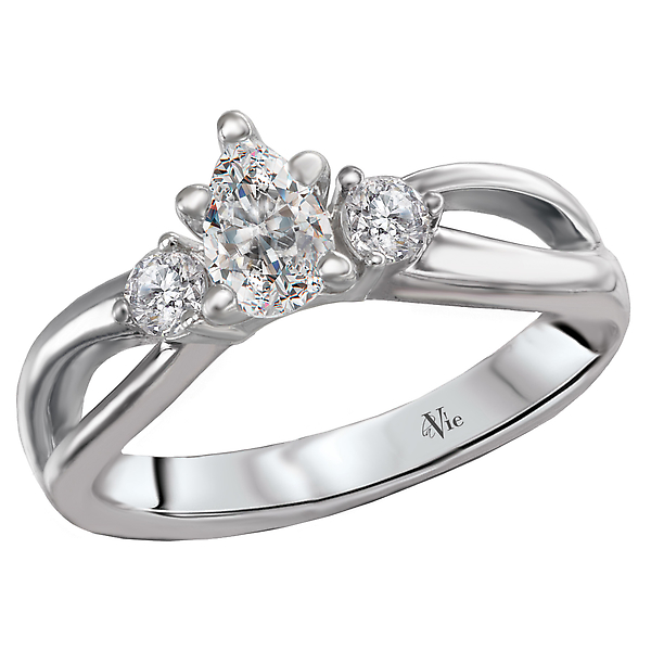 Rings - 3 Stone Semi-Mount Diamond Ring