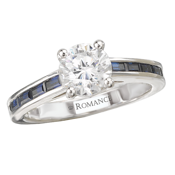 Sapphire and Diamond Semi-Mount Ring by Romance Diamond