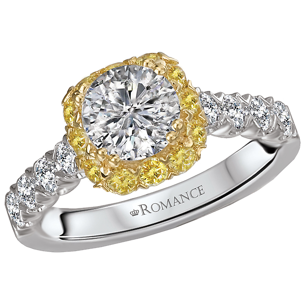 Two Tone Semi-Mount Diamond Ring by Romance Diamond