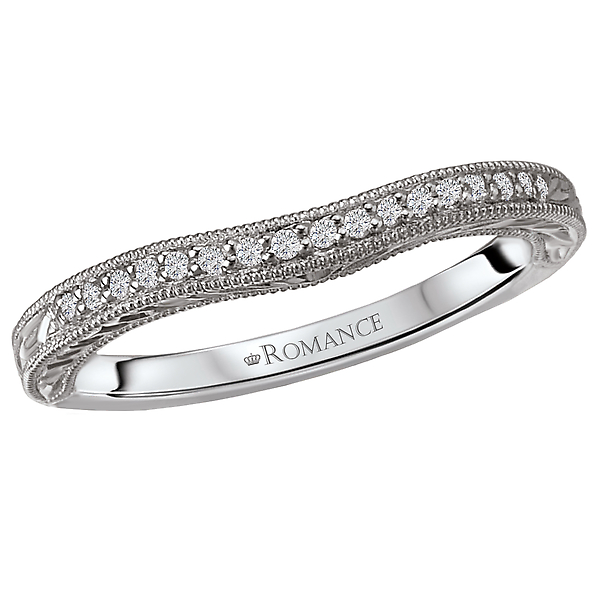 Curved Wedding Band by Romance Diamond