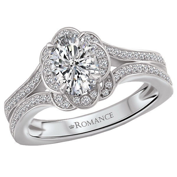 Halo Semi-Mount Diamond Ring by Romance Diamond