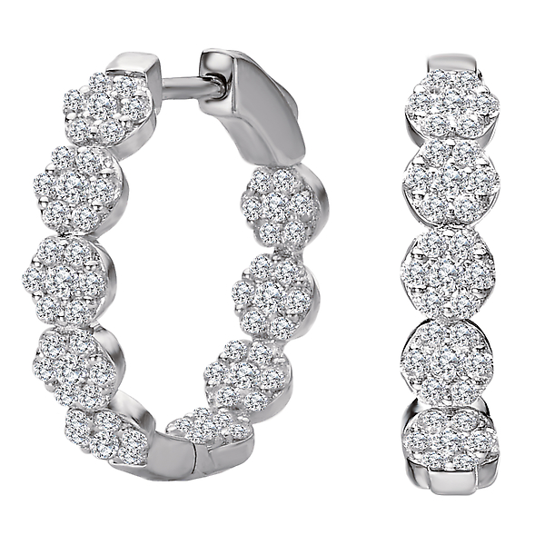 Earrings - Ladies Diamond Hoop Earrings