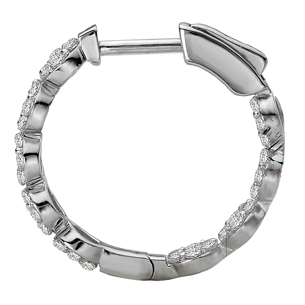 Earrings - Ladies Diamond Hoop Earrings - image #3