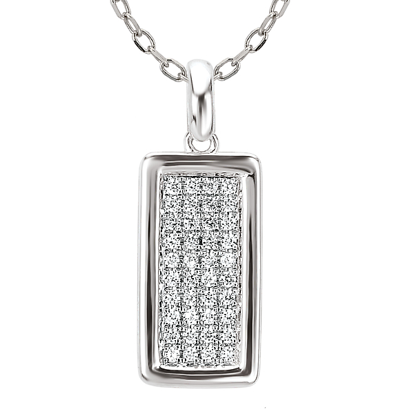 14K White Diamond Pendant by Tesoro