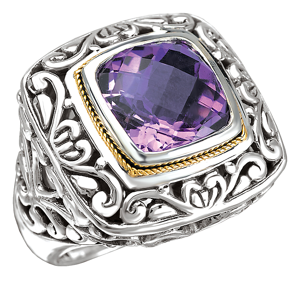Rings - 18K/SILVER AMETHYST CUSHION   CUT RING AM-11.5MM