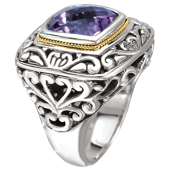 Rings - 18K/SILVER AMETHYST CUSHION   CUT RING AM-11.5MM - image #3