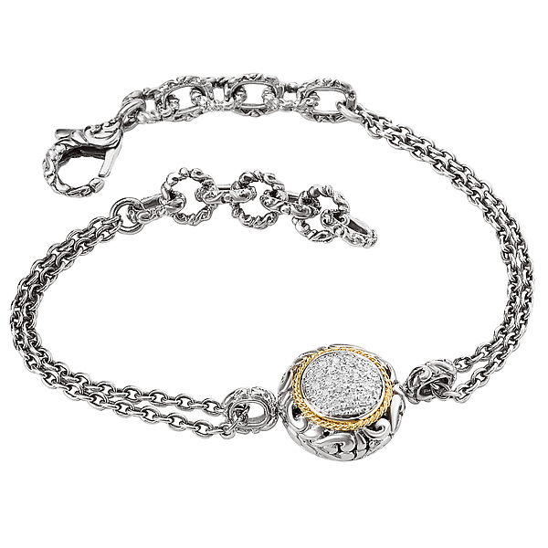 Ladies Fashion Diamond Bracelet - Oxidized Sterling Silver Bracelet with Pave' Diamonds and 18kt Yellow Gold Accents. (D .07 carat total weight) Bracelet is Adjustable 6 1/2-7 1/2 with a Lobster Clasp.