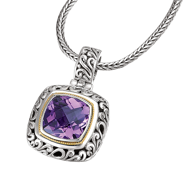 Pendants - 18K/SILVER WITH AMETHYST      CUSHION CUT PEND. AM-15MM