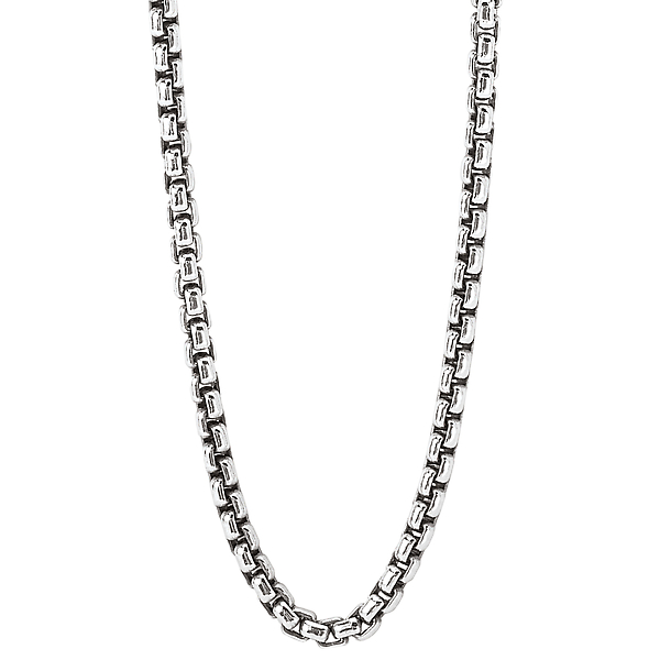 Sterling Silver Puff Link Chain - This is a 2.4mm Italian puff link 18 inch chain crafted in oxidized sterling silver with a lobster clasp closure.