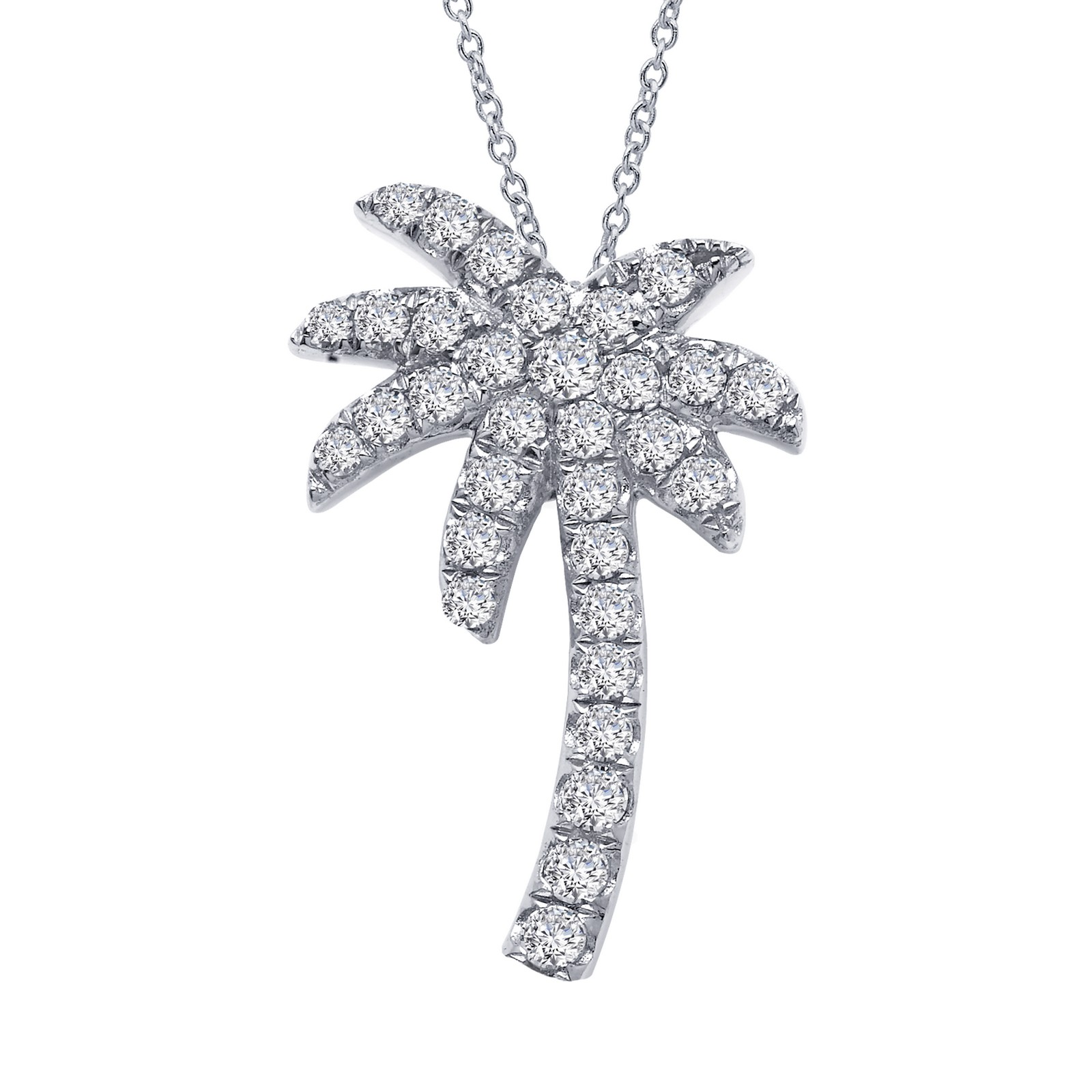 Nautical Simulated Diamond Platinum Necklace by Lafonn