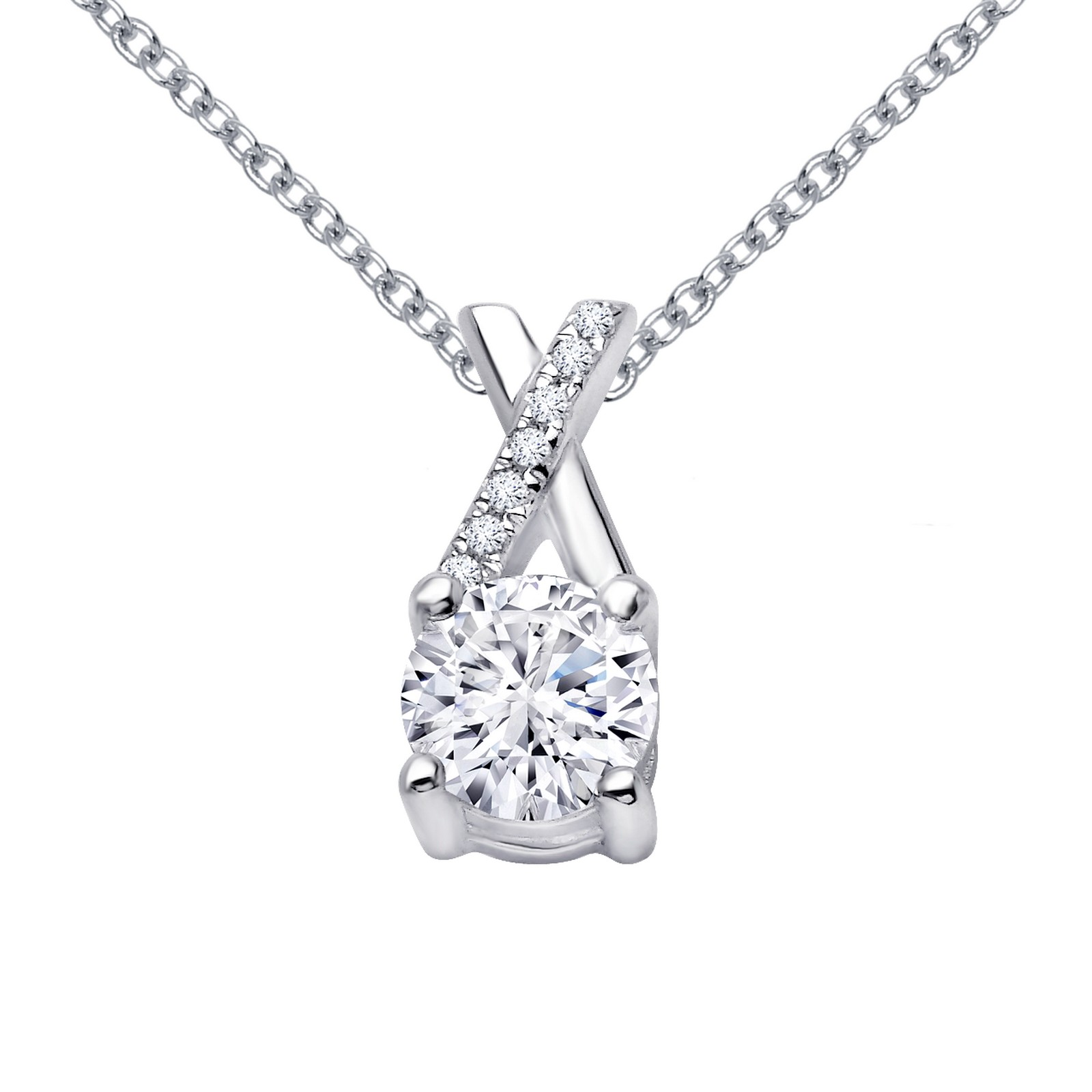 Classic Simulated Diamond Platinum Necklace by Lafonn Jewelry