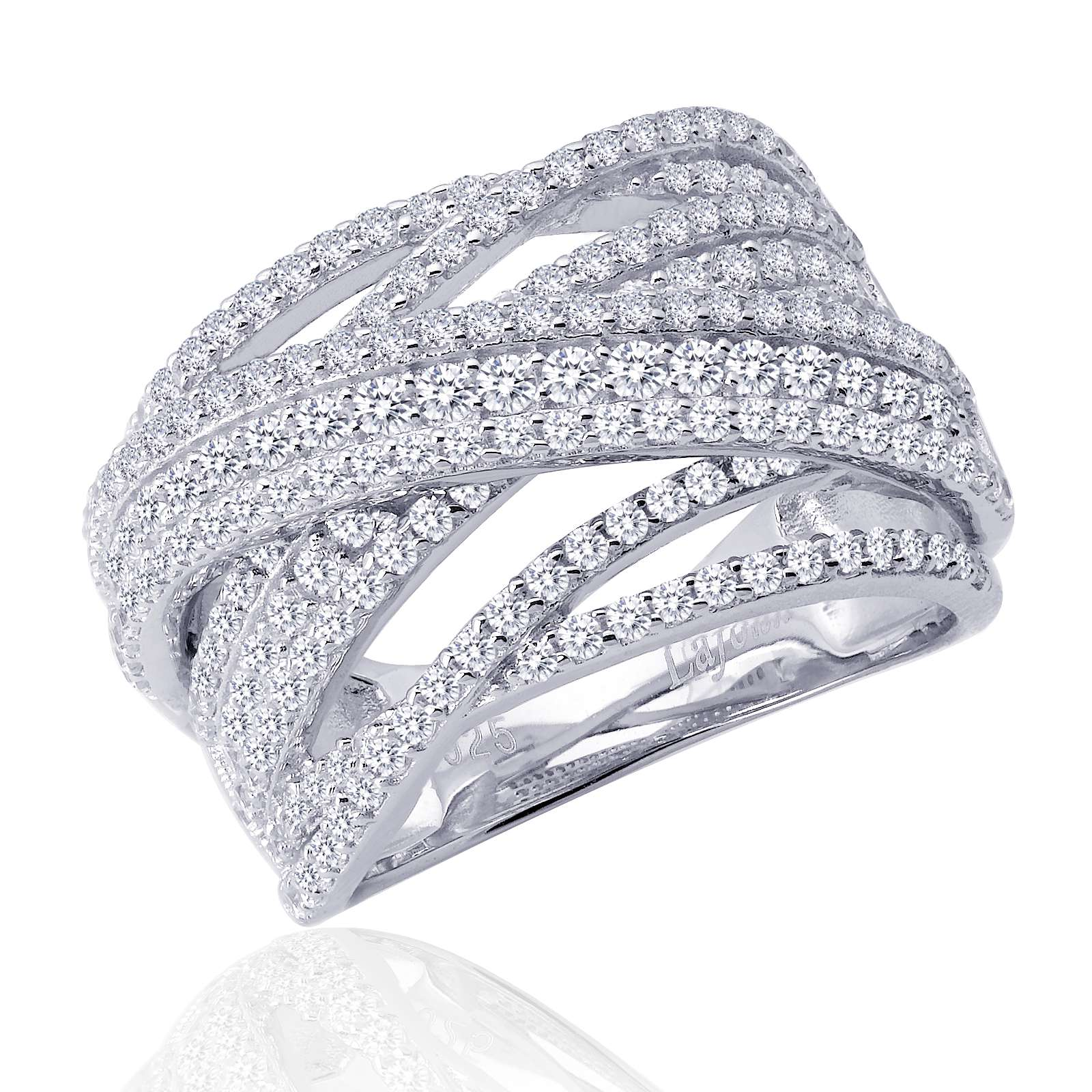 Pave Glam Simulated Diamond Platinum Bonded Ring by Lafonn
