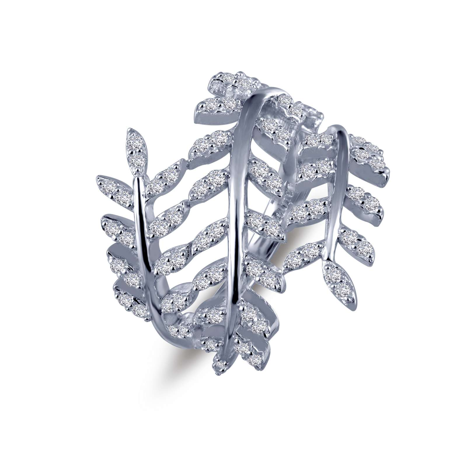 Pave Glam Simulated Diamond Platinum Ring by Lafonn