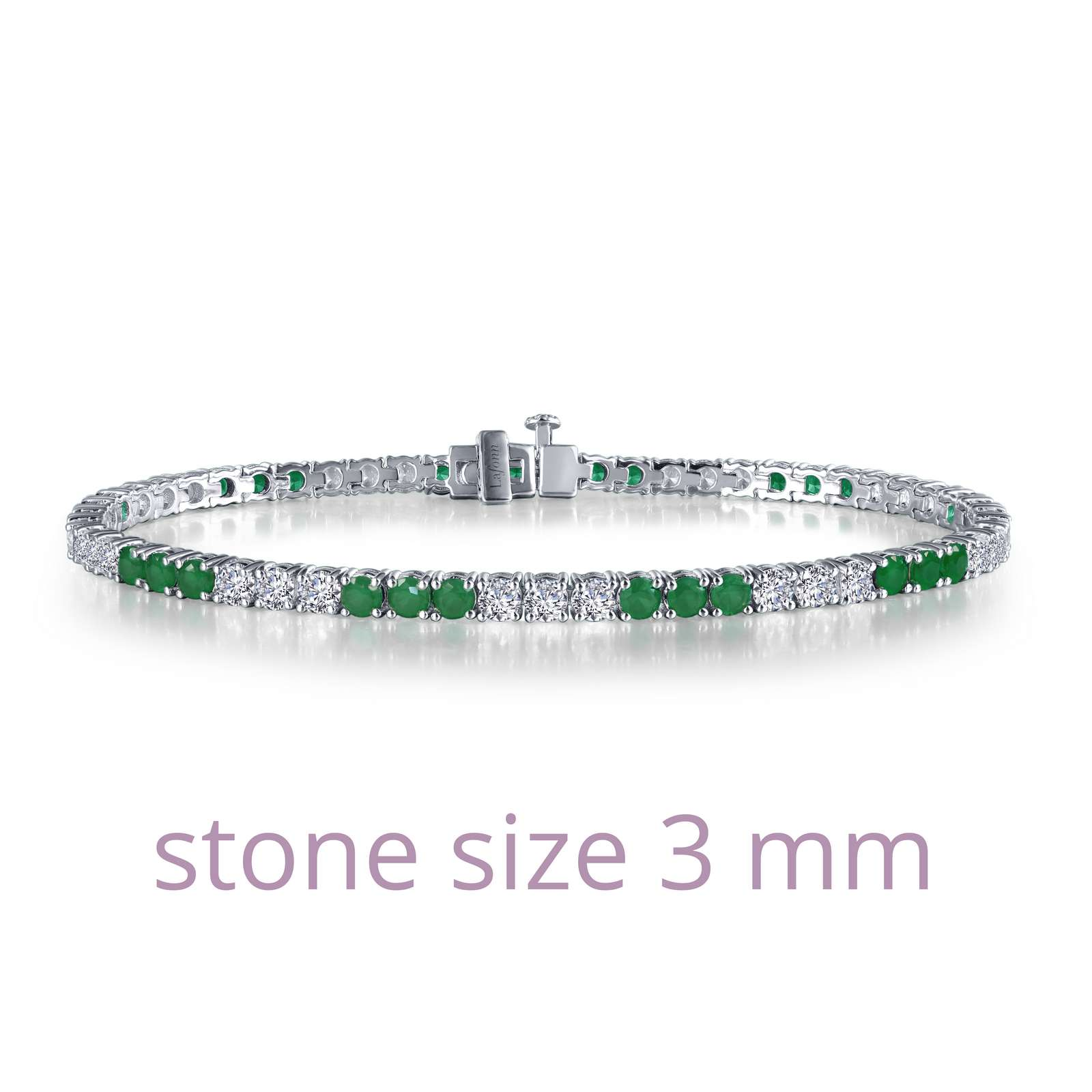 Classic Emerald Platinum Bonded Bracelet - Timeless classics for everyday wear. This sparkly tennis bracelet is set with Lafonn's signature Lassaire simulated diamonds and simulated emeralds in sterling silver bonded with Platinum Bonded. .
