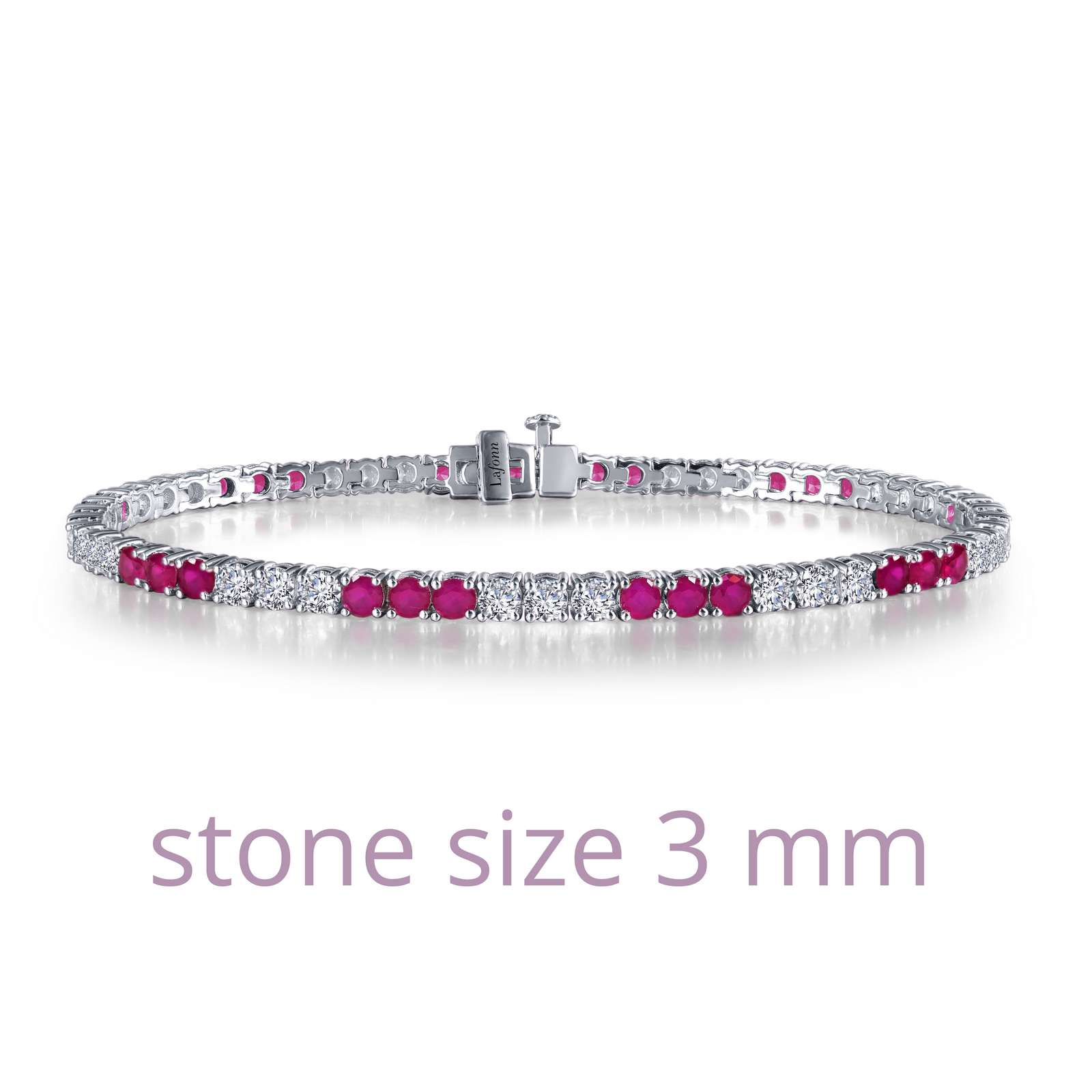 Timeless classics for everyday wear. This sparkly tennis bracelet is set with Lafonn's signature Lassaire simulated diamonds and lab-grown rubies in sterling silver bonded with platinum. .