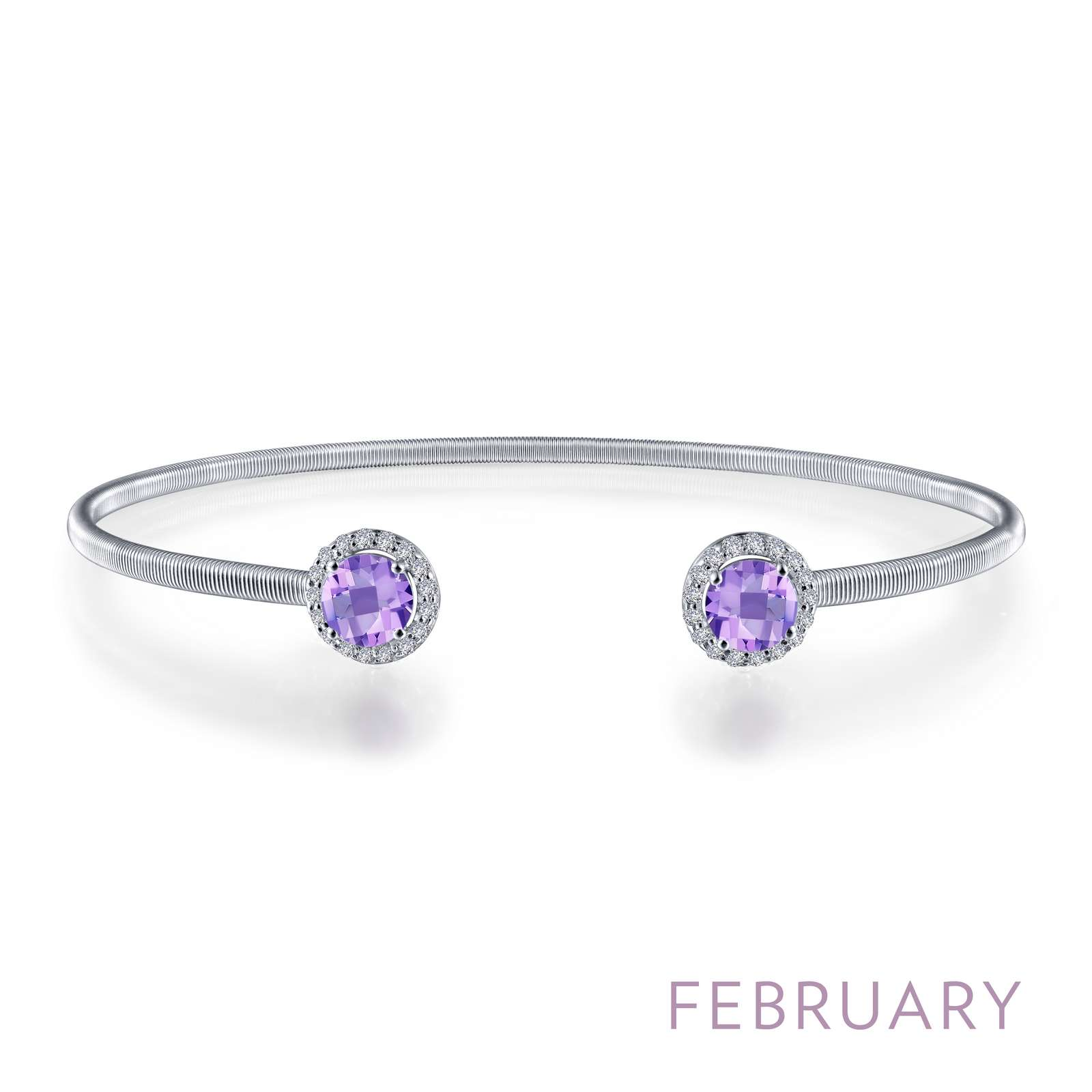 February - Amethyst. Adorn yourself with Lafonn's birthstone jewelry. This flexible stackable open cuff halo bangle bracelet is set with Lafonn's signature Lassaire simulated diamonds and genuine amethysts. Bracelet is in sterling silver bonded with platinum.
