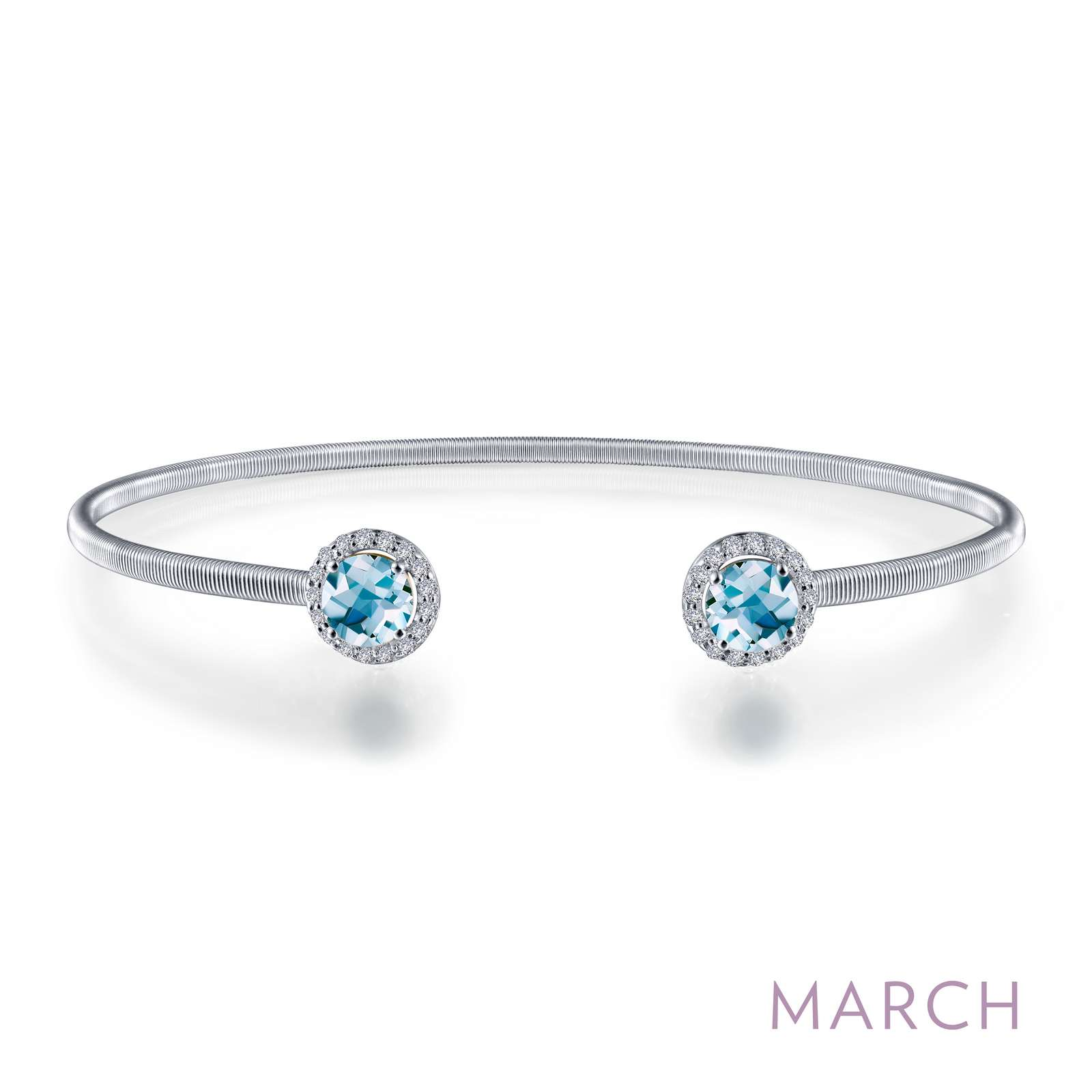 March - Aquamarine. Adorn yourself with Lafonn's birthstone jewelry. This flexible stackable open cuff halo bangle bracelet is set with Lafonn's signature Lassaire simulated diamonds and simulated aquamarines. Bracelet is in sterling silver bonded with platinum.