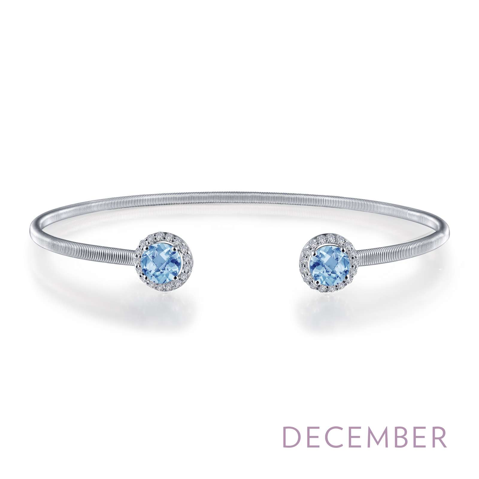 December - Blue Topaz. Adorn yourself with Lafonn's birthstone jewelry. This flexible stackable open cuff halo bangle bracelet is set with Lafonn's signature Lassaire simulated diamonds and genuine blue topazes. Bracelet is in sterling silver bonded with platinum.