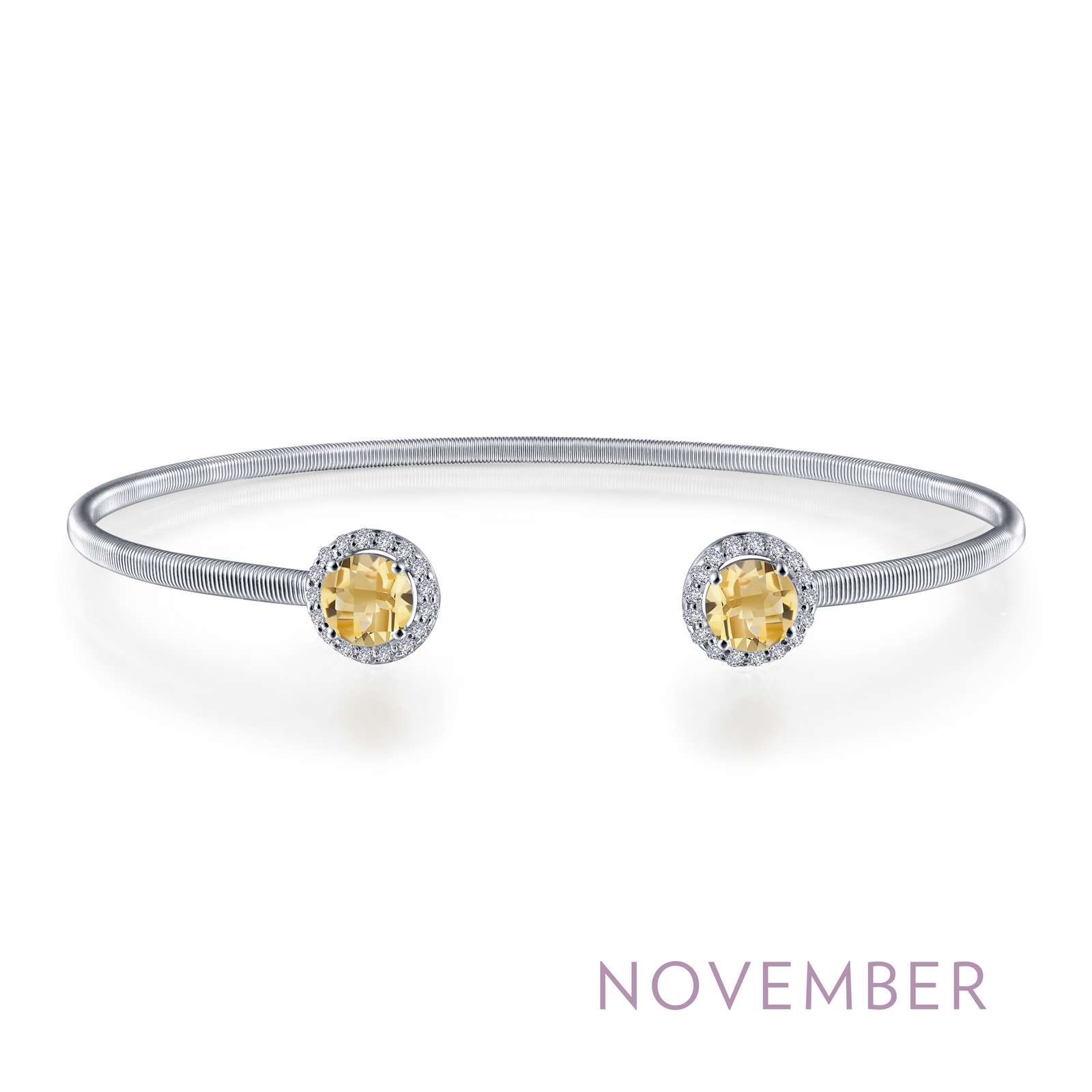 November - Citrine. Adorn yourself with Lafonn's birthstone jewelry. This flexible stackable open cuff halo bangle bracelet is set with Lafonn's signature Lassaire simulated diamonds and genuine citrines. Bracelet is in sterling silver bonded with platinum.