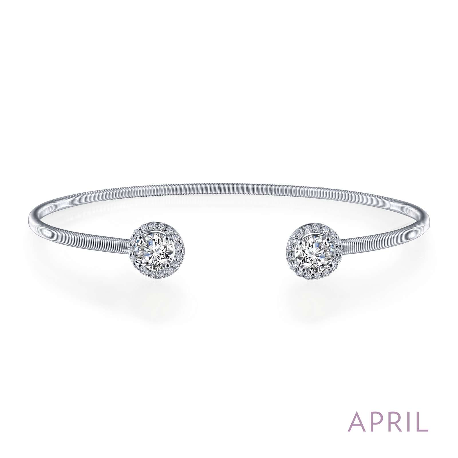 April - Diamond. Adorn yourself with Lafonn's birthstone jewelry. This flexible stackable open cuff halo bangle bracelet is set with Lafonn's signature Lassaire simulated diamonds. Bracelet is in sterling silver bonded with platinum.